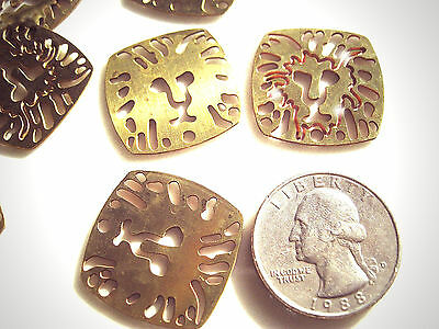 Vintage 10 Art Deco Ornate Aged Brass Stamped Lion Face Findings 24X24Mm Sa9 2