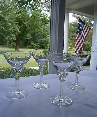 Retired Tiffin/Franciscan Rose Marie 17501 Crystal Liquor Cocktail Glasses (4)