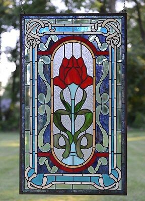 """20"""" x 34"""" Handcrafted Tiffany Style stained glass window panel A big Rose flower"""