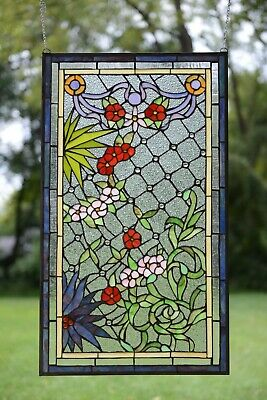 """20"""" x 34"""" Handcrafted Tiffany Style stained glass window panel flower Home Decor"""