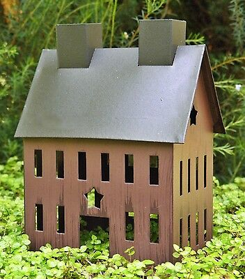 "Rustic Burgundy Tin HOUSE with Star for Miniature FAIRY GARDEN 5"" X 4"" PRIMITIVE"