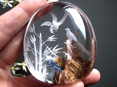 A*174g Natural Clear Quartz Crystal Magpie Tridimensional Reverse Carving 050401