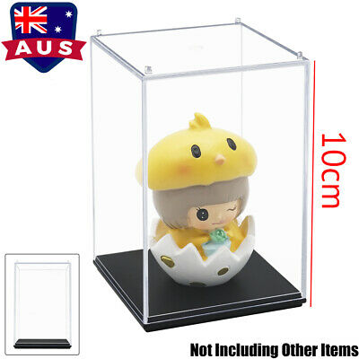 AU Perspex Display Case Acrylic Clear Box Plastic Base Dustproof Protection Toy
