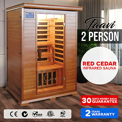 New 2 Person Red Cedar Carbon Heater Far Infrared Indoor Detox Box Sauna Cabin