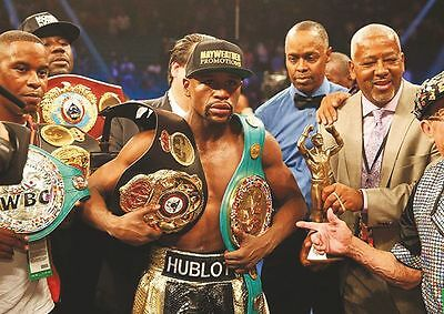 Floyd Mayweather Celebrates With Belts Poster