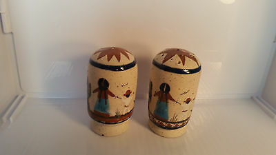 Mexican Pottery Signed Mexico Stoneware Salt & Pepper Shakers
