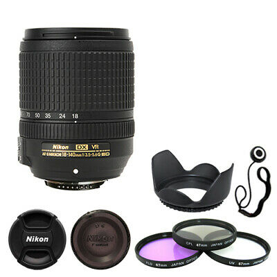 Nikon 18-140mm f/3.5-5.6G ED VR AF-S DX Zoom Lens Bundle Filters Hood Cap Keeper