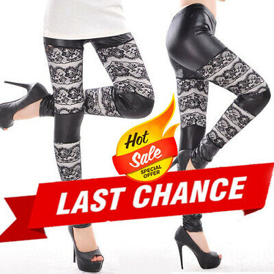 Women Girl 's Sexy Lace Faux Leather Tight Leggings Skinny Pants Black Floral US