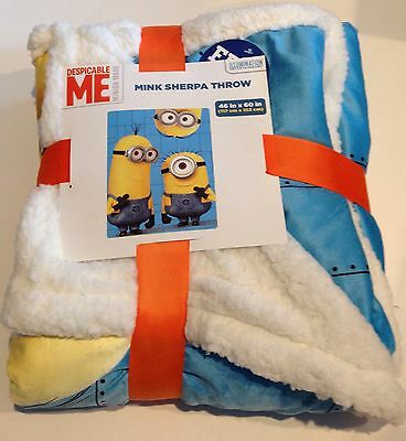 "DESPICABLE ME MINION SUPER  Soft Warm Mink Sherpa Throw Blanket 46""X 60 """