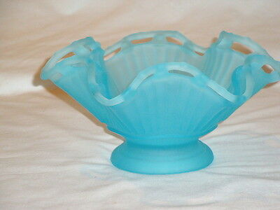 Vintage Frosted Blue Candy Dish