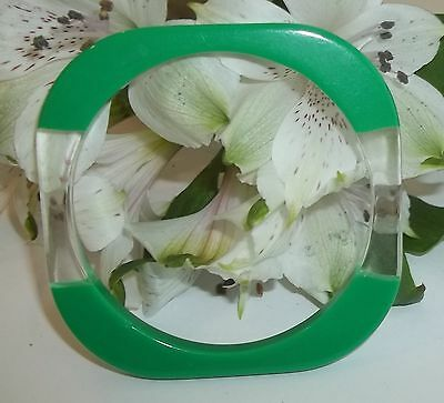 "Vintage VTG Green & Clear Lucite Plastic Square Bangle Retro 1/4"" wide Jewelry"