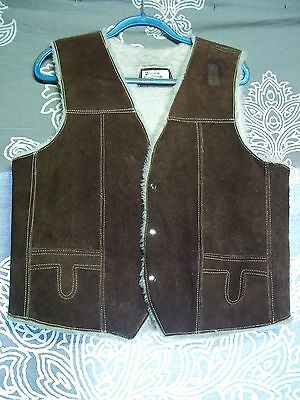 True Vintage Early 60s Brown Genuine Leather Vest. Size 42.