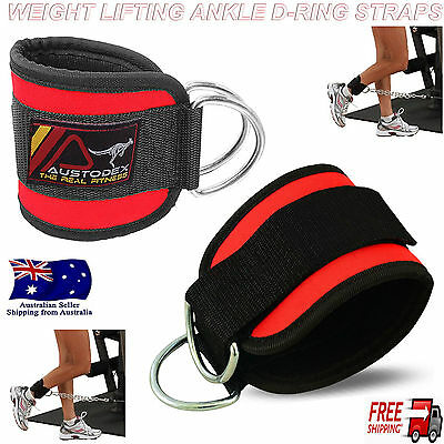 Austodex Weight Lifting Ankle D-Ring pair Pulley Cable Attachment Gym Leg Straps