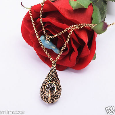 Vampire Diaries Inspried Elena Gilbert Blue Bird Cage Vintage Necklace Pendant