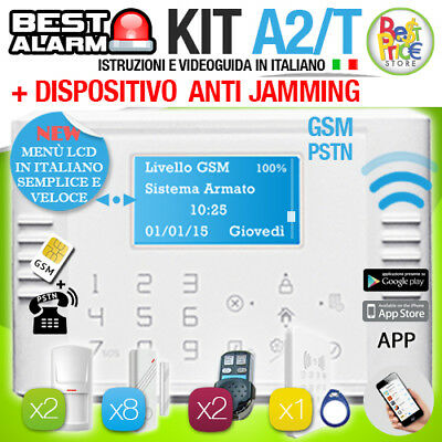 ANTIFURTO KIT A2T ALLARME CASA WIRELESS 433 Mhz GSM PSTN TOUCH  - ANTIJAMMING