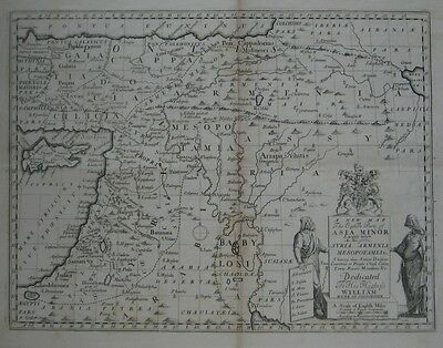 Original 1700 Map ASIA MINOR Palestine Armenia Syria Arabia Babylon Mesopotamia