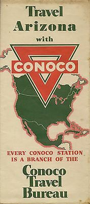 1936 CONOCO Continental Oil Road Map ARIZONA Route 66 Phoenix Petrified Forest