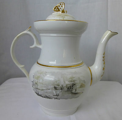 Antique,c1820,English,Porcelain,Coffee Pot,Black & White Transfer,As Is