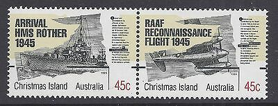 1995 Christmas Island End Of Wwii Fine Mint Pair Muh/mnh