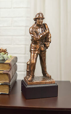 "Fire Fighter Fireman Bronze Electroplated Figurine With Base Resin Statue 12""H"