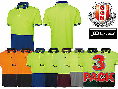 3x JBS HI VIS Work Polo 6HVPS TRADITIONAL,8COLORS,SAFETY WORKWEAR,SHORT SLEEVE
