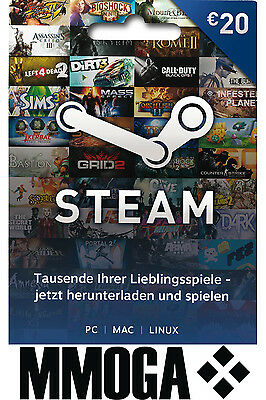 Steam Game Card EUR 20 Key Steam Gutschein Guthaben Code €20 Euro Guthabencode