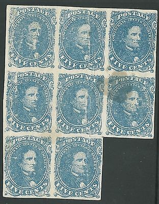CSA Scott #4 Stone 2 Mint OG Staggered Block of 8 Confederate Stamps