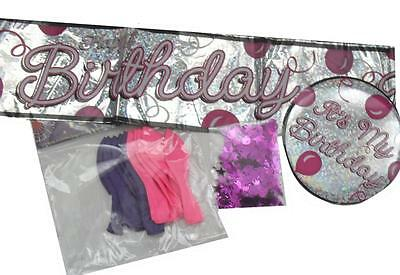 ** Its My Birthday Girl Party Pack Pink Badge Banner Balloons Confetti New **
