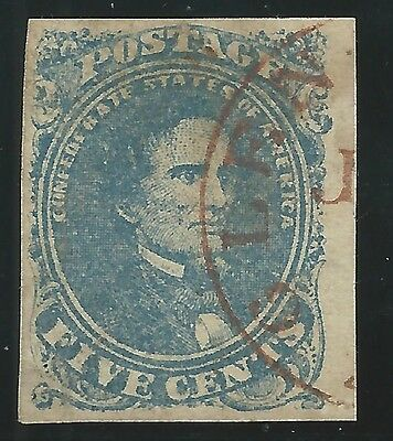CSA Scott #4 Stone 2 Pos 13 Used Confederate Stamp Red Glenn Springs, SC CDS