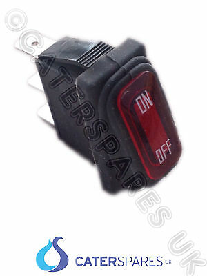 Red Neon Rocker On / Off Switch C/W Bellow Seal 30X11Mm 3 Pin Terminal 220/240V