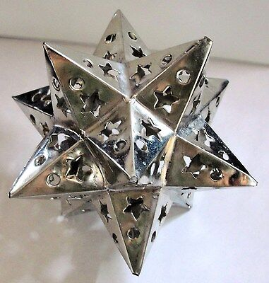 LOT of 5 !!   TIN  STAR  3 DIMENSIONAL  ORNAMENT !  HANDMADE!!