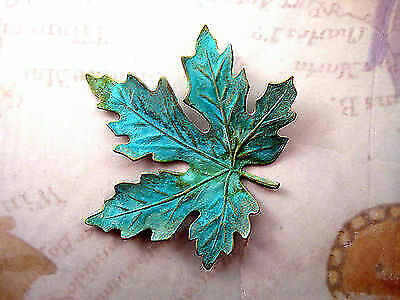 Extra-Large Verdigris Patina Brass Maple Leaf Stamping (1) - VPS3088
