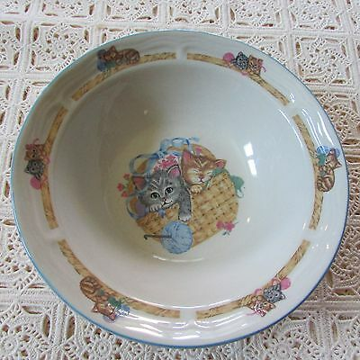 """Set of 3 Tienshan """"Purrfect Friends"""" Collection Stoneware Plates & 1 Bowl"""