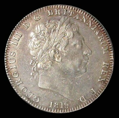 1819 Lix Silver Great Britain Crown George Iii Coin Extremely Fine