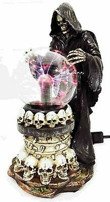 "Skull Grim Reaper With AC Powered Flashing Lightning Electric Ball Figurine 12""H"