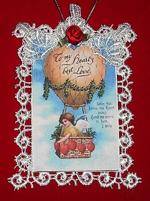 Handmade Vintage Style Victorian Valentine Card Ornament -To My Hearts Best Love