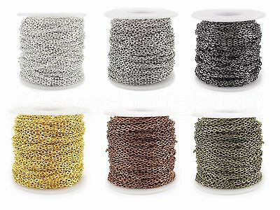 Bulk Cable Chain - Gold Silver Bronze - 2x3mm 3x4mm 4x6mm 5x7mm - 30 100 330 Ft