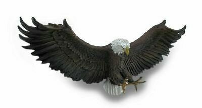 """Large Spread Out Wings of Glory Bald Eagle Wall Mounted Plaque Sculpture 25""""L"""