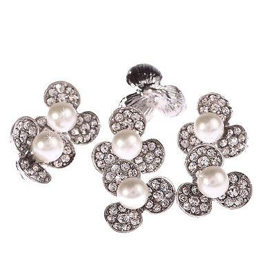 10 x 15mm Pearl Diamante Silver Crystal Flower Buttons Diamante Rhinestone