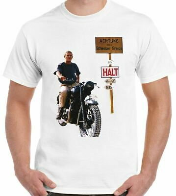 Steve Mcqueen - The Great Escape - Mens Retro Old Movie T-Shirt Motorbike Bike