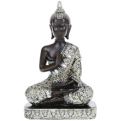 NEW Meditating Thai Buddha 18cm Silver Gold Statue Ornament Figurine