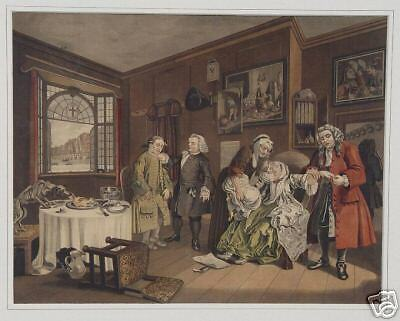 Hogarth Marriage Apotheke Gift Selbstmord Arzt Windhund Ohnmacht Doctor Medizin