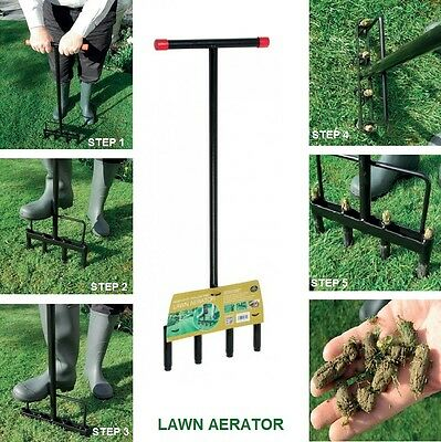 Outdoor Garden Heavy Duty Hollow Tine Aerator Grass/lawn Handheld Manual Aerator