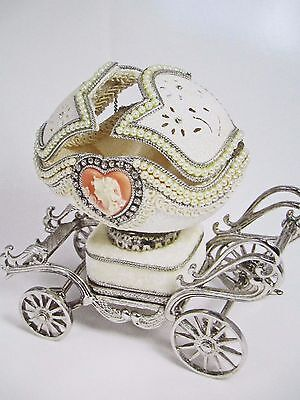 """Authentic Decorated Goose Egg ~ """" Cameo Adorned Coach  """"  ~ Musical #30406"""