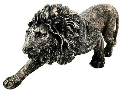 "The King of The Jungle Bronzed Aslan Lion Figurine Battle Stance Statue 14"" Long"
