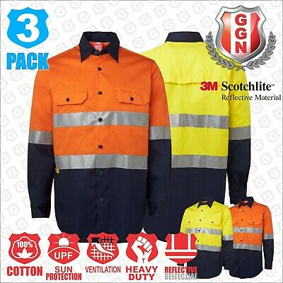 3x HI VIS SHIRT,COTTON DRILL SAFETY WORK,3M REFLECTIVE,LONGSLEEVE,VENTILATED