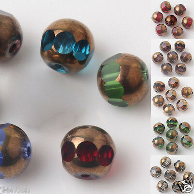 Hot 20/40pcs Bronze Plated Faceted Czech Crystal Loose Spacer Beads 8mm 8 Colors