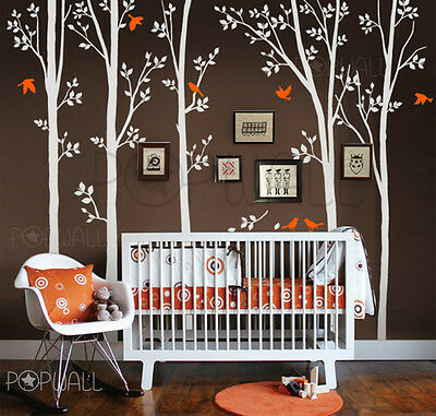 Spring Leafy Trees With Birds Wall Decal - Contemporary Nature - Custom your Own