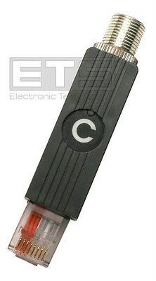 Fluke MicroTest Straight Pass Through C Adapter RJ45 To Coax F Jumper Connector