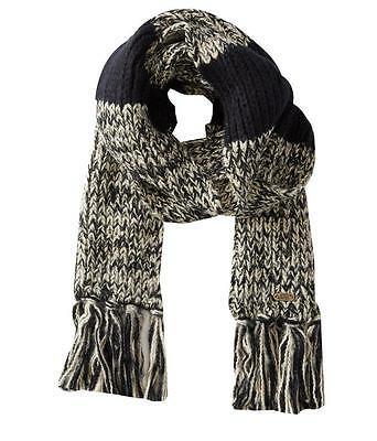 Vans Off The Wall Meddle Scarf Womens Black Ivory Striped Fringe New NWT OSFM